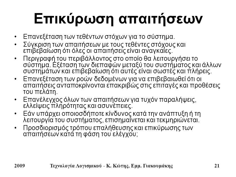 2009Τεχνολογία Λογισμικού - Κ. Κώτης, Εμμ. Γιακουμάκης 21 Επικύρωση απαιτήσεων Επανεξέταση των τεθέντων στόχων για το σύστημα. Σύγκριση των απαιτήσεων