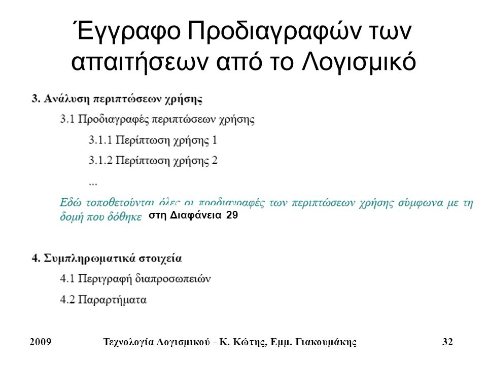 32 Έγγραφο Προδιαγραφών των απαιτήσεων από το Λογισμικό στη Διαφάνεια 29 2009Τεχνολογία Λογισμικού - Κ. Κώτης, Εμμ. Γιακουμάκης