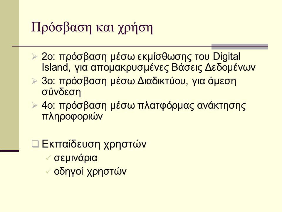 Πρόσβαση και χρήση  2ο: πρόσβαση μέσω εκμίσθωσης του Digital Island, για απομακρυσμένες Βάσεις Δεδομένων  3ο: πρόσβαση μέσω Διαδικτύου, για άμεση σύνδεση  4ο: πρόσβαση μέσω πλατφόρμας ανάκτησης πληροφοριών  Εκπαίδευση χρηστών σεμινάρια οδηγοί χρηστών