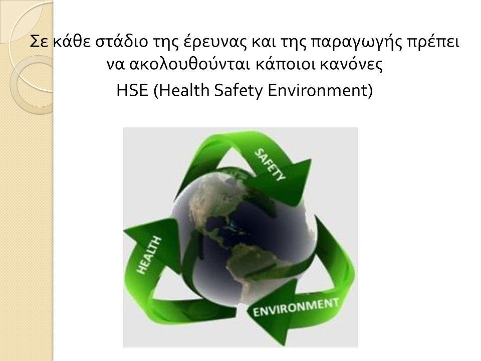Σε κάθε στάδιο της έρευνας και της παραγωγής πρέπει να ακολουθούνται κάποιοι κανόνες HSE (Health Safety Environment)