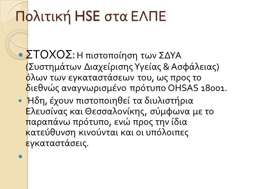 Πολιτική HSE στα ΕΛΠΕ ΣΤΟΧΟΣ : Η πιστοποίηση των ΣΔΥΑ ( Συστημάτων Διαχείρισης Υγείας & Ασφάλειας ) όλων των εγκαταστάσεων του, ως προς το διεθνώς αναγνωρισμένο πρότυπο OHSAS 18001.