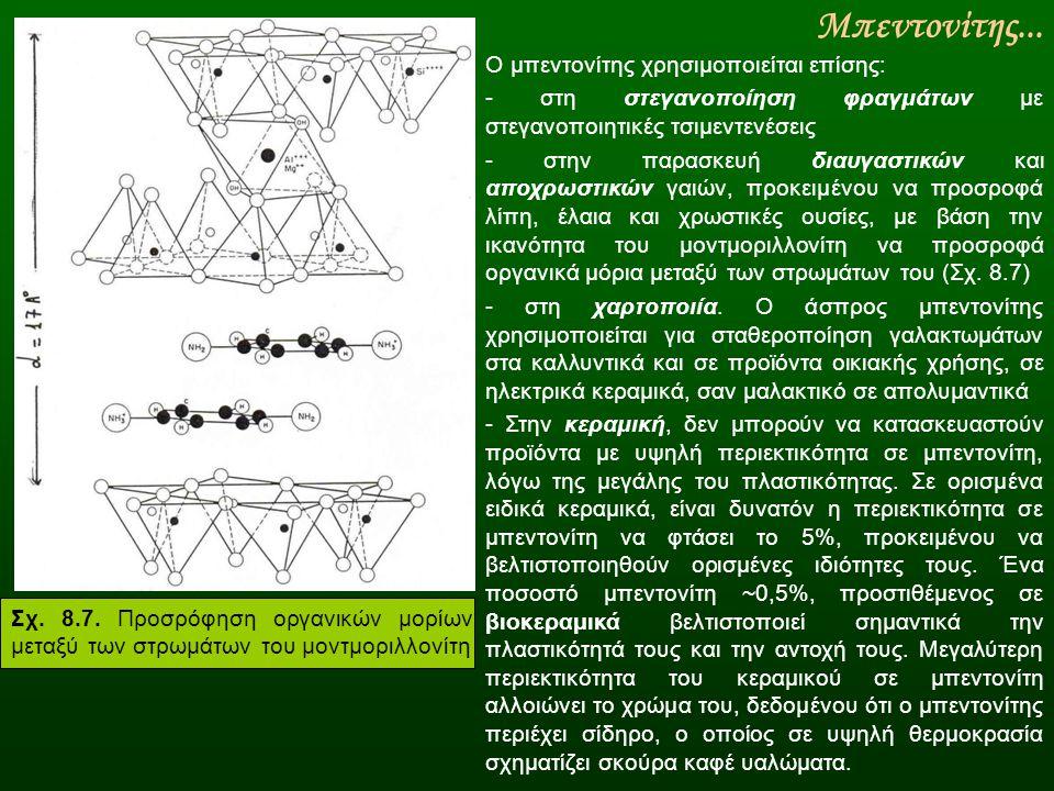 Μπεντονίτης... Ο μπεντονίτης χρησιμοποιείται επίσης: - στη στεγανοποίηση φραγμάτων με στεγανοποιητικές τσιμεντενέσεις - στην παρασκευή διαυγαστικών κα