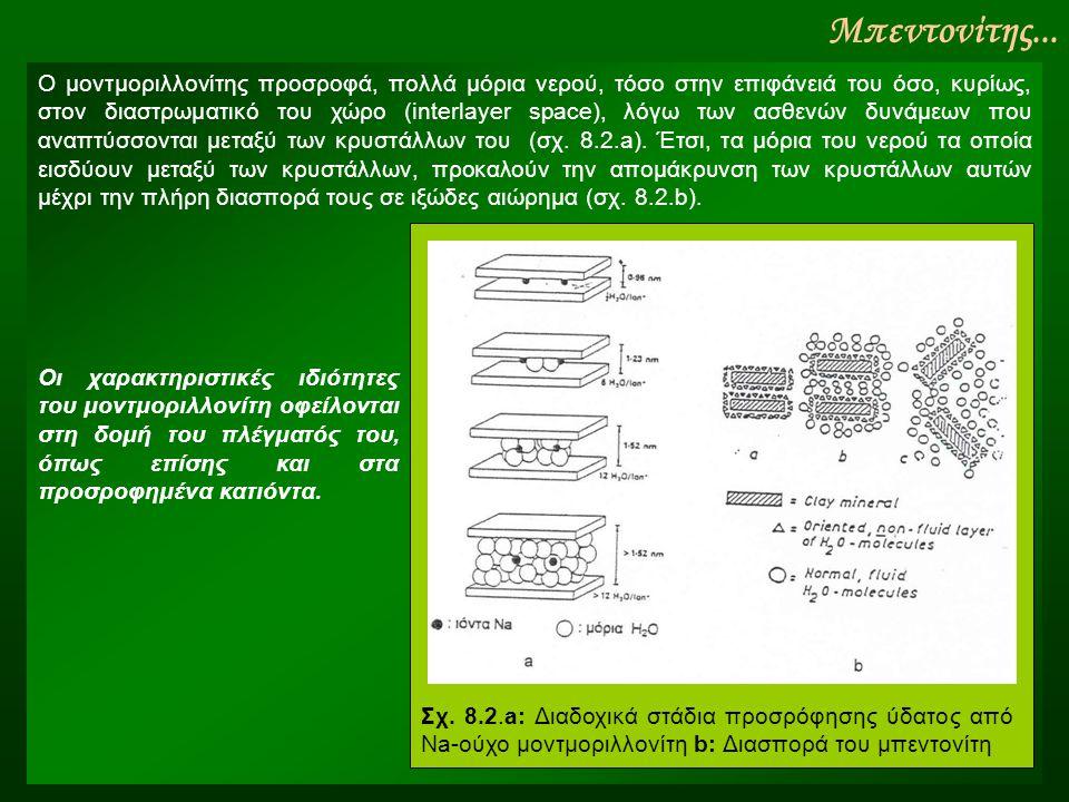 Μπεντονίτης... Ο μοντμοριλλονίτης προσροφά, πολλά μόρια νερού, τόσο στην επιφάνειά του όσο, κυρίως, στον διαστρωματικό του χώρο (interlayer space), λό