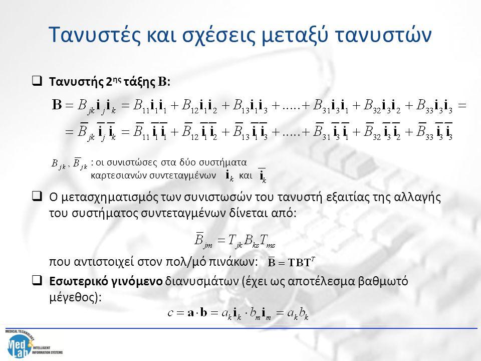 Τανυστές και σχέσεις μεταξύ τανυστών  Τανυστής 2 ης τάξης Β :  Ο μετασχηματισμός των συνιστωσών του τανυστή εξαιτίας της αλλαγής του συστήματος συντ