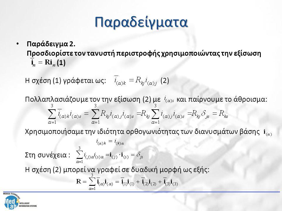 Παραδείγματα Παράδειγμα 2. Προσδιορίστε τον τανυστή περιστροφής χρησιμοποιώντας την εξίσωση (1) Η σχέση (1) γράφεται ως: (2) Πολλαπλασιάζουμε τον την