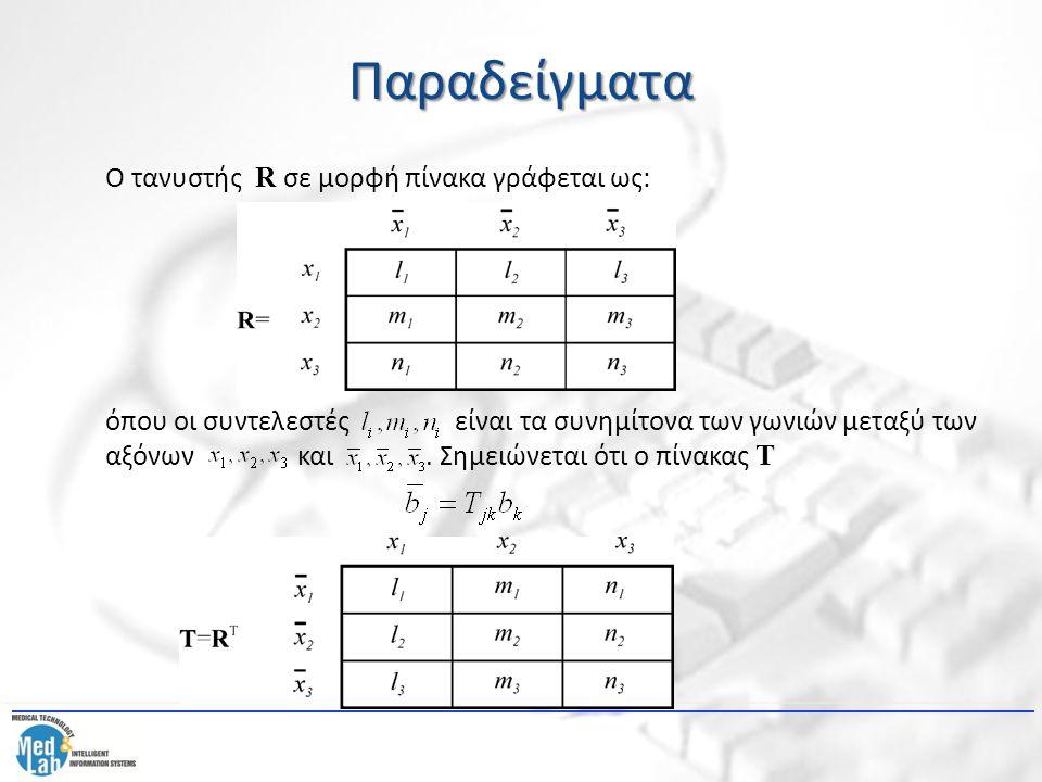 Παραδείγματα Ο τανυστής R σε μορφή πίνακα γράφεται ως: όπου οι συντελεστές είναι τα συνημίτονα των γωνιών μεταξύ των αξόνων και. Σημειώνεται ότι ο πίν
