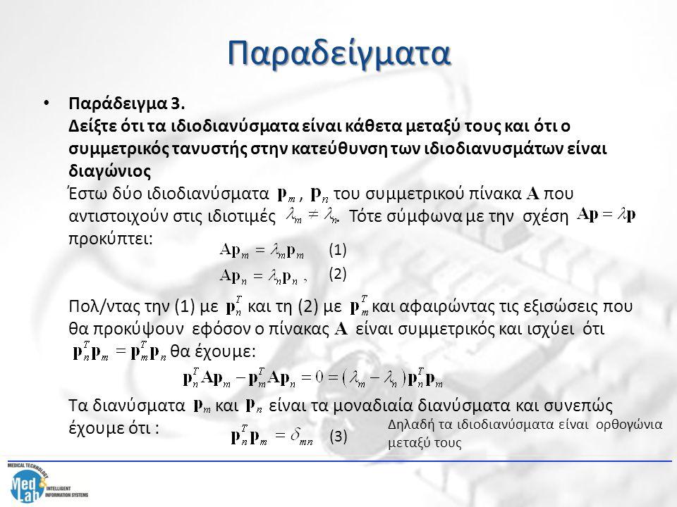 Παραδείγματα Παράδειγμα 3. Δείξτε ότι τα ιδιοδιανύσματα είναι κάθετα μεταξύ τους και ότι ο συμμετρικός τανυστής στην κατεύθυνση των ιδιοδιανυσμάτων εί
