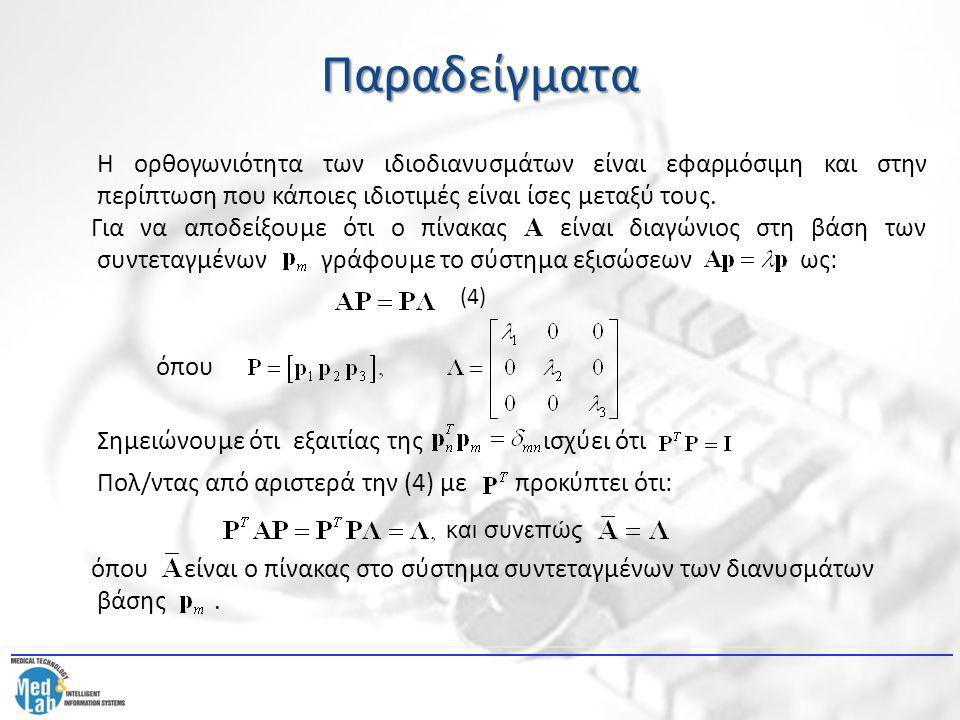 Παραδείγματα Η ορθογωνιότητα των ιδιοδιανυσμάτων είναι εφαρμόσιμη και στην περίπτωση που κάποιες ιδιοτιμές είναι ίσες μεταξύ τους. Για να αποδείξουμε