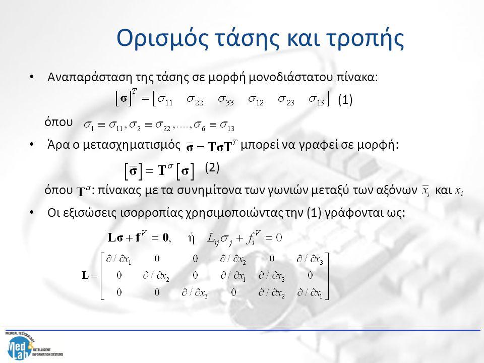 Αναπαράσταση της τάσης σε μορφή μονοδιάστατου πίνακα: (1) όπου Άρα ο μετασχηματισμός μπορεί να γραφεί σε μορφή: (2) όπου : πίνακας με τα συνημίτονα τω
