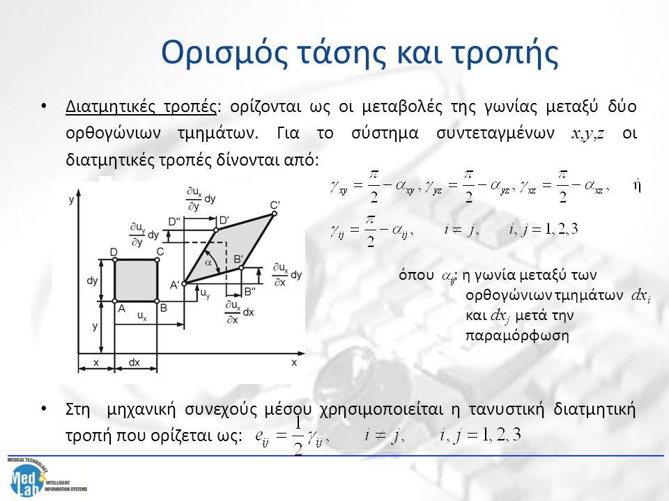 Διατμητικές τροπές: ορίζονται ως οι μεταβολές της γωνίας μεταξύ δύο ορθογώνιων τμημάτων. Για το σύστημα συντεταγμένων x,y,z οι διατμητικές τροπές δίνο