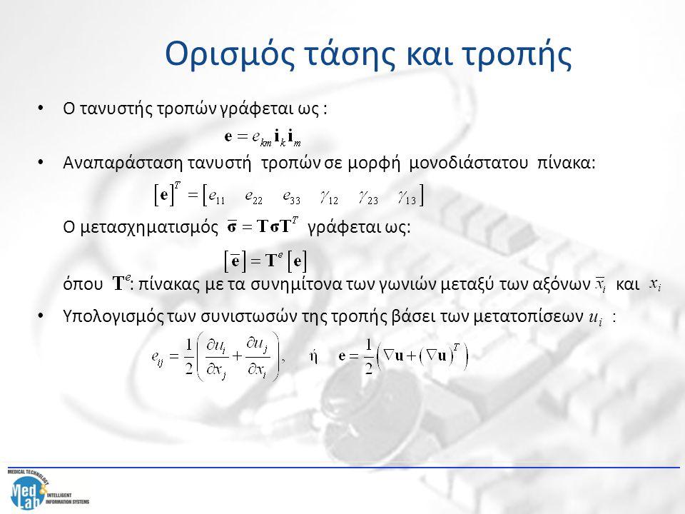 Ο τανυστής τροπών γράφεται ως : Αναπαράσταση τανυστή τροπών σε μορφή μονοδιάστατου πίνακα: Ο μετασχηματισμός γράφεται ως: όπου : πίνακας με τα συνημίτ