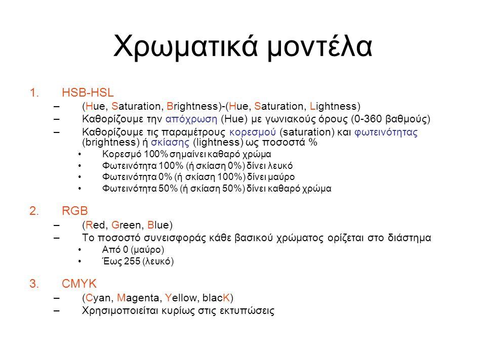 Χρωματικά μοντέλα 1.HSB-HSL –(Hue, Saturation, Brightness)-(Hue, Saturation, Lightness) –Καθορίζουμε την απόχρωση (Hue) με γωνιακούς όρους (0-360 βαθμούς) –Καθορίζουμε τις παραμέτρους κορεσμού (saturation) και φωτεινότητας (brightness) ή σκίασης (lightness) ως ποσοστά % Κορεσμό 100% σημαίνει καθαρό χρώμα Φωτεινότητα 100% (ή σκίαση 0%) δίνει λευκό Φωτεινότητα 0% (ή σκίαση 100%) δίνει μαύρο Φωτεινότητα 50% (ή σκίαση 50%) δίνει καθαρό χρώμα 2.RGB –(Red, Green, Blue) –Το ποσοστό συνεισφοράς κάθε βασικού χρώματος ορίζεται στο διάστημα Από 0 (μαύρο) Έως 255 (λευκό) 3.CMYK –(Cyan, Magenta, Yellow, blacK) –Χρησιμοποιείται κυρίως στις εκτυπώσεις