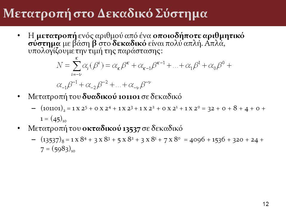 Μετατροπή στο Δεκαδικό Σύστημα Η μετατροπή ενός αριθµού από ένα οποιοδήποτε αριθµητικό σύστηµα µε βάση β στο δεκαδικό είναι πολύ απλή. Απλά, υπολογίζο