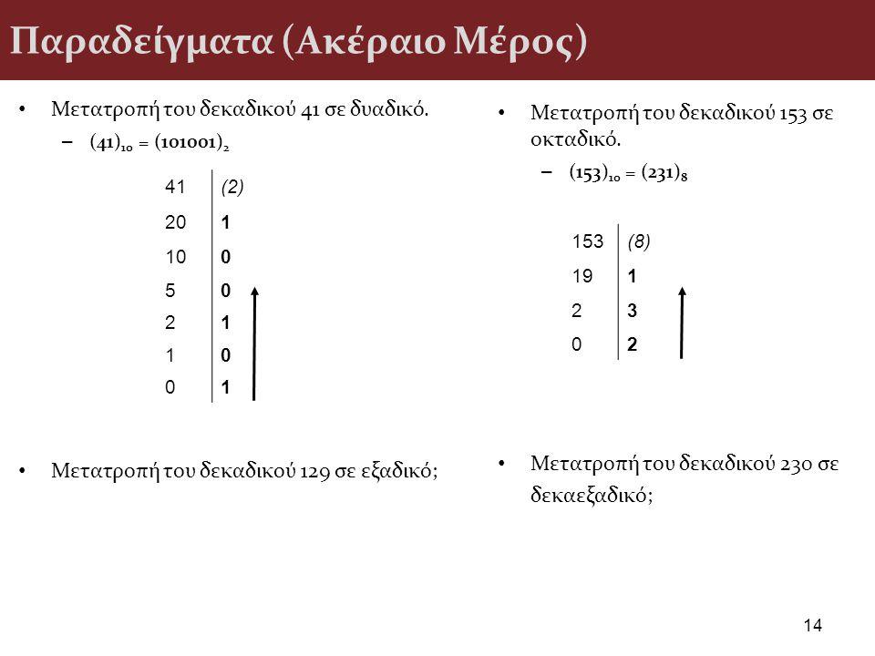 Παραδείγματα (Ακέραιο Μέρος) Μετατροπή του δεκαδικού 41 σε δυαδικό. – (41) 10 = (101001) 2 Μετατροπή του δεκαδικού 129 σε εξαδικό; 14 Μετατροπή του δε