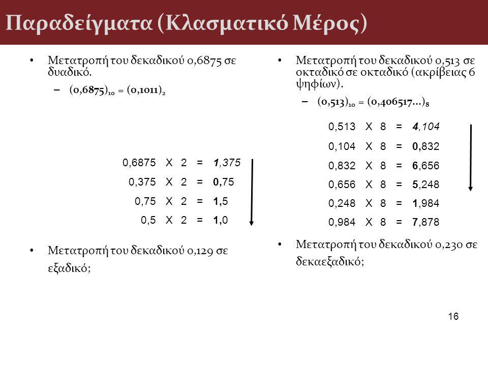 Παραδείγματα (Κλασματικό Μέρος) Μετατροπή του δεκαδικού 0,6875 σε δυαδικό. – (0,6875) 10 = (0,1011) 2 Μετατροπή του δεκαδικού 0,129 σε εξαδικό; 16 Μετ