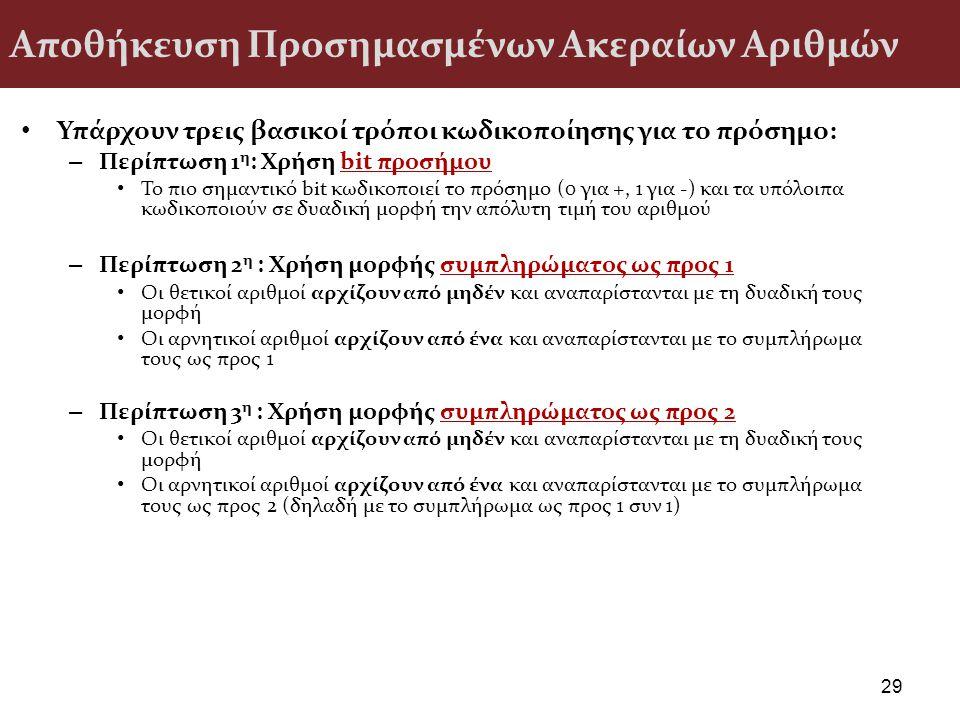 Αποθήκευση Προσημασμένων Ακεραίων Αριθμών Υπάρχουν τρεις βασικοί τρόποι κωδικοποίησης για το πρόσημο: – Περίπτωση 1 η : Χρήση bit προσήμου Το πιο σημα