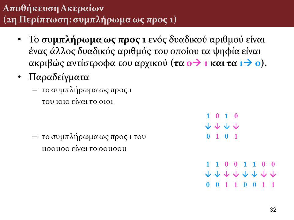 Αποθήκευση Ακεραίων (2η Περίπτωση: συμπλήρωμα ως προς 1) Το συμπλήρωμα ως προς 1 ενός δυαδικού αριθμού είναι ένας άλλος δυαδικός αριθμός του οποίου τα