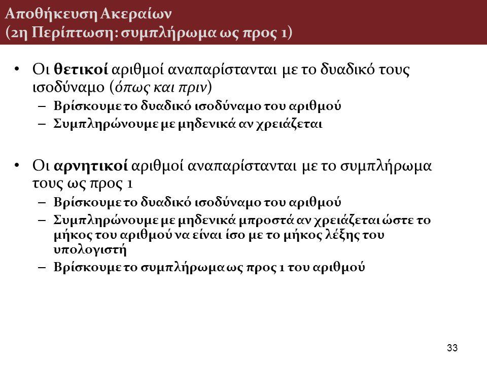 Αποθήκευση Ακεραίων (2η Περίπτωση: συμπλήρωμα ως προς 1) Οι θετικοί αριθμοί αναπαρίστανται με το δυαδικό τους ισοδύναμο (όπως και πριν) – Βρίσκουμε το