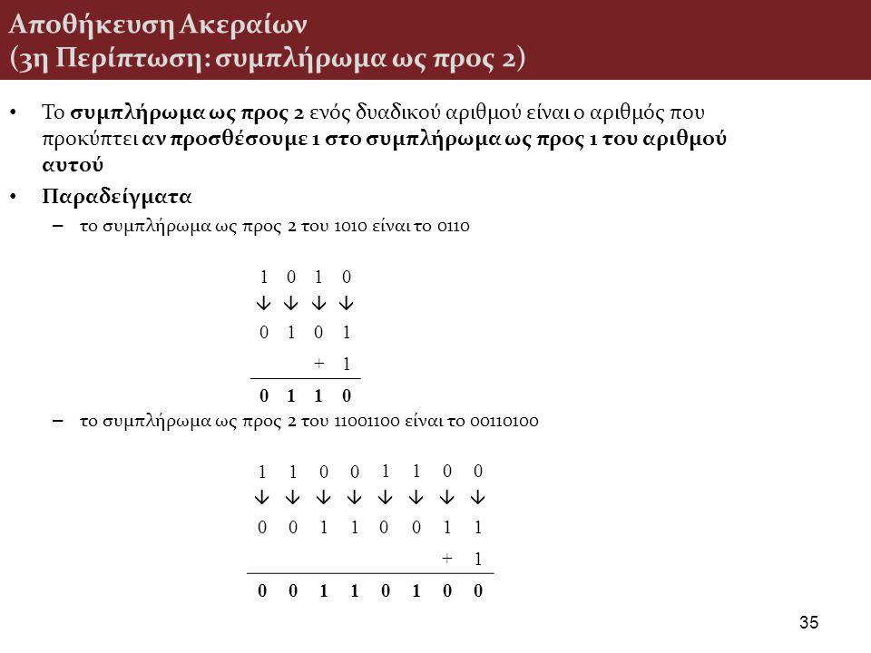 Αποθήκευση Ακεραίων (3η Περίπτωση: συμπλήρωμα ως προς 2) Το συμπλήρωμα ως προς 2 ενός δυαδικού αριθμού είναι ο αριθμός που προκύπτει αν προσθέσουμε 1