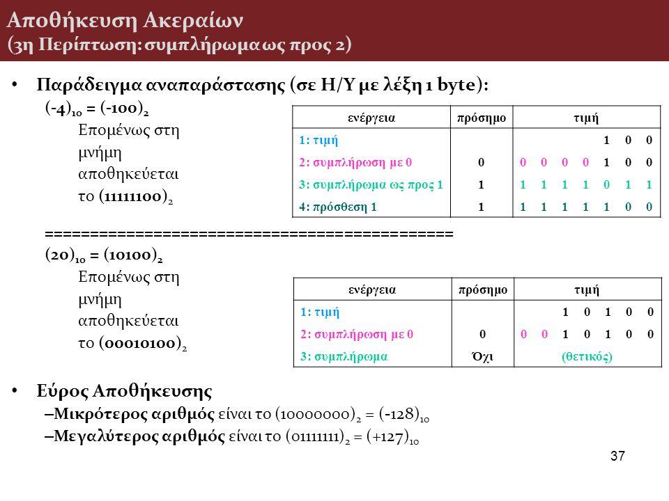 Αποθήκευση Ακεραίων (3η Περίπτωση: συμπλήρωμα ως προς 2) Παράδειγμα αναπαράστασης (σε H/Y με λέξη 1 byte): (-4) 10 = (-100) 2 Επομένως στη μνήμη αποθη