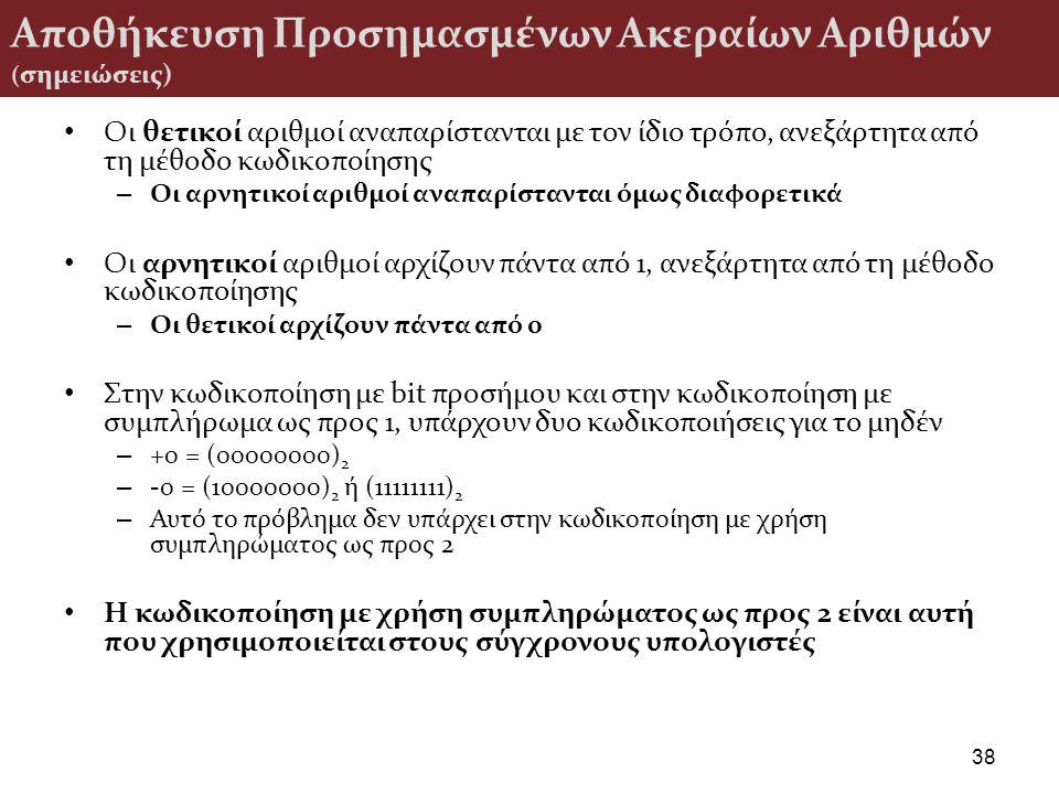 Αποθήκευση Προσημασμένων Ακεραίων Αριθμών ( σημειώσεις) Οι θετικοί αριθμοί αναπαρίστανται με τον ίδιο τρόπο, ανεξάρτητα από τη μέθοδο κωδικοποίησης –