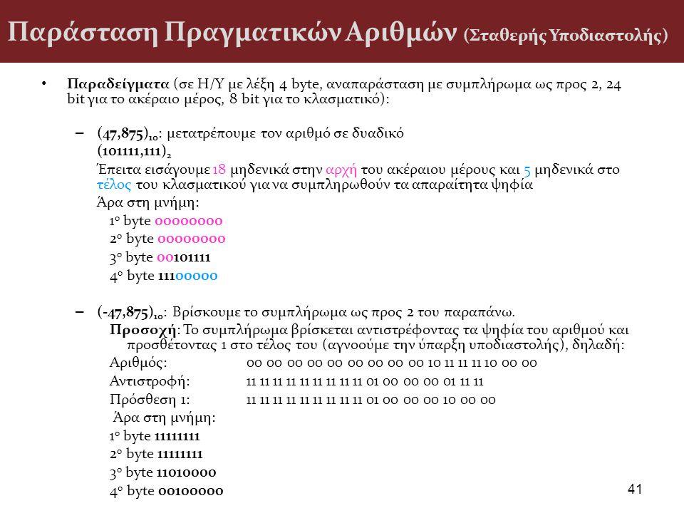 Παράσταση Πραγματικών Αριθμών (Σταθερής Υποδιαστολής) Παραδείγματα (σε H/Y με λέξη 4 byte, αναπαράσταση με συμπλήρωμα ως προς 2, 24 bit για το ακέραιο