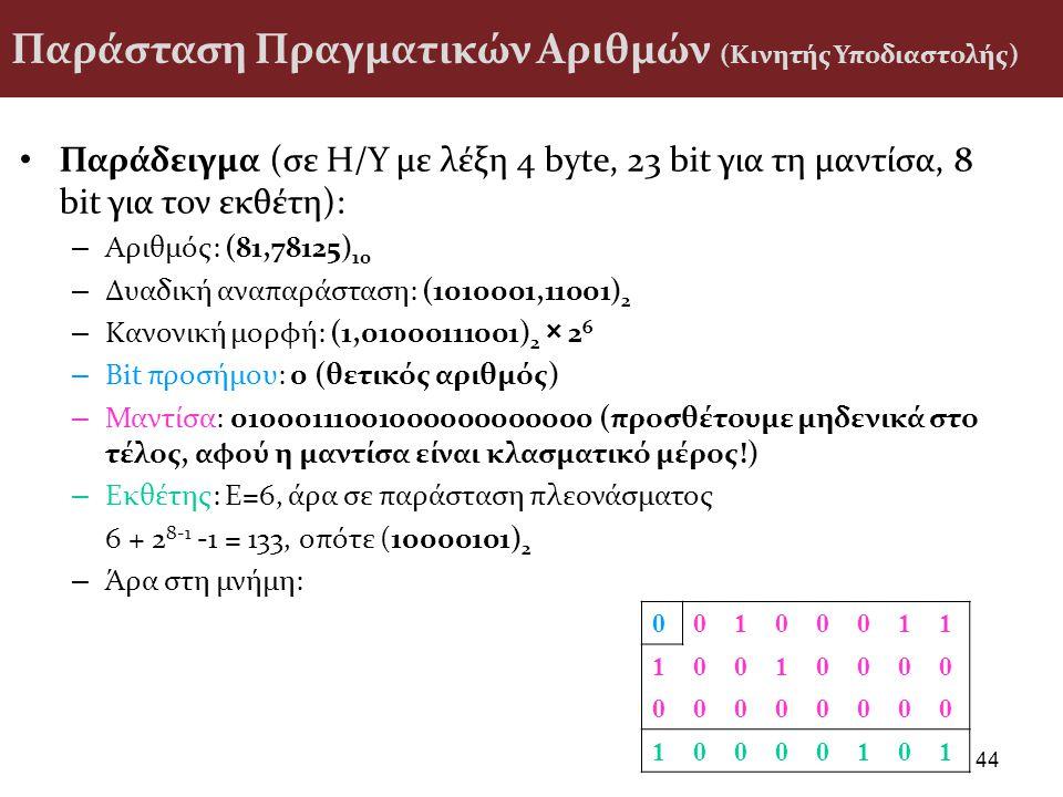 Παράσταση Πραγματικών Αριθμών (Κινητής Υποδιαστολής) Παράδειγμα (σε H/Y με λέξη 4 byte, 23 bit για τη μαντίσα, 8 bit για τον εκθέτη): – Αριθμός: (81,7