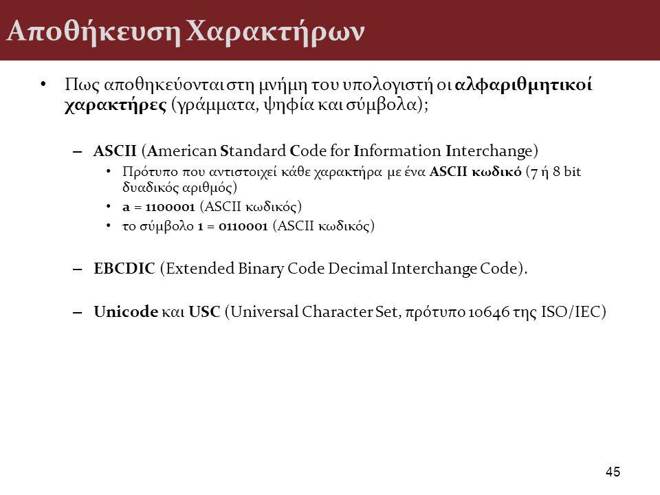 Αποθήκευση Χαρακτήρων Πως αποθηκεύονται στη μνήμη του υπολογιστή οι αλφαριθμητικοί χαρακτήρες (γράμματα, ψηφία και σύμβολα); – ASCII (American Standar