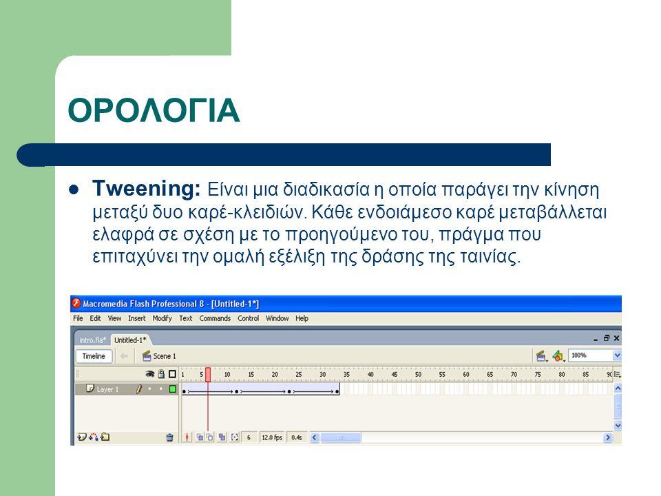 ΟΡΟΛΟΓΙΑ Tweening: Είναι μια διαδικασία η οποία παράγει την κίνηση μεταξύ δυο καρέ-κλειδιών.