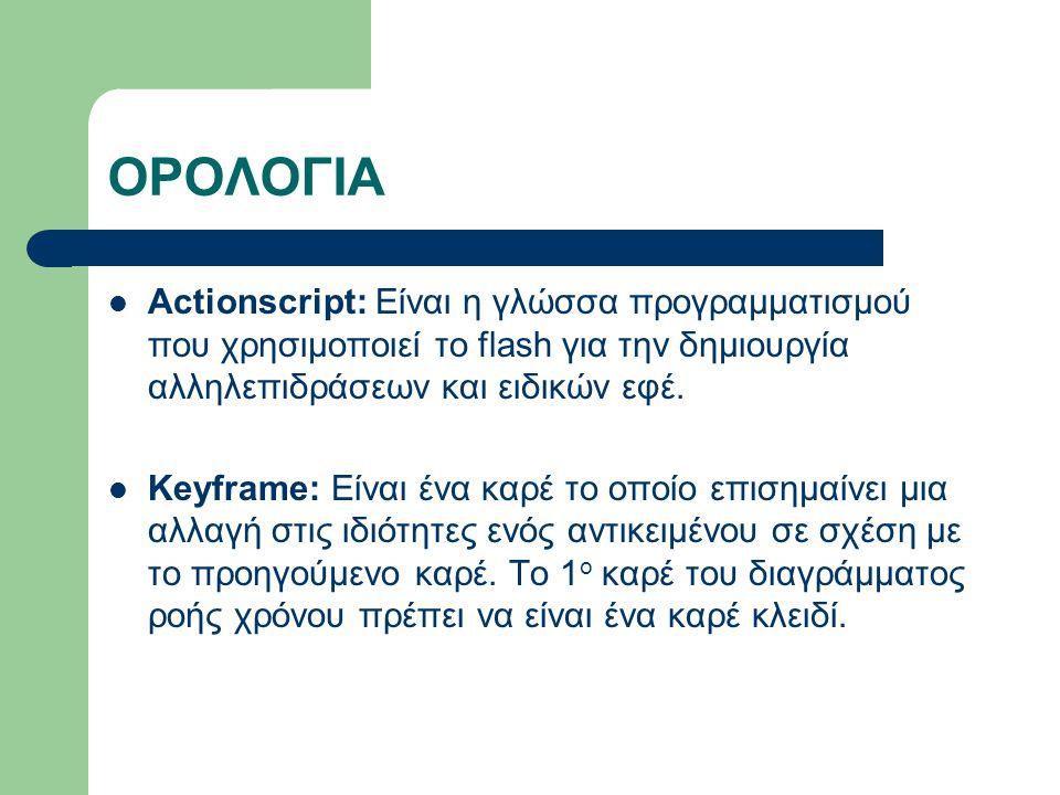 ΟΡΟΛΟΓΙΑ Actionscript: Είναι η γλώσσα προγραμματισμού που χρησιμοποιεί το flash για την δημιουργία αλληλεπιδράσεων και ειδικών εφέ.