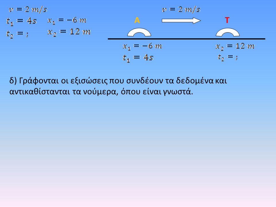 δ) Γράφονται οι εξισώσεις που συνδέουν τα δεδομένα και αντικαθίστανται τα νούμερα, όπου είναι γνωστά. ΑΤ