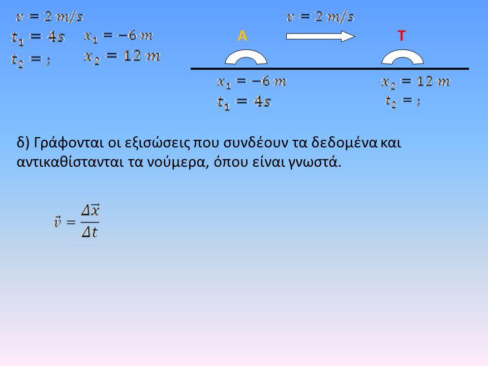 δ) Γράφονται οι εξισώσεις που συνδέουν τα δεδομένα και αντικαθίστανται τα νούμερα, όπου είναι γνωστά.