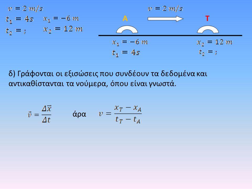 δ) Γράφονται οι εξισώσεις που συνδέουν τα δεδομένα και αντικαθίστανται τα νούμερα, όπου είναι γνωστά. άρα ΑΤ