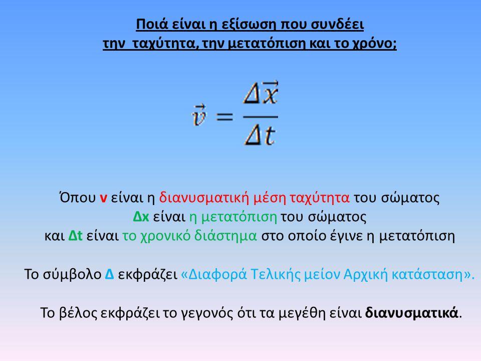 Ποιά είναι η εξίσωση που συνδέει την ταχύτητα, την μετατόπιση και το χρόνο; Όπου v είναι η διανυσματική μέση ταχύτητα του σώματος Δx είναι η μετατόπιση του σώματος και Δt είναι το χρονικό διάστημα στο οποίο έγινε η μετατόπιση Το σύμβολο Δ εκφράζει «Διαφορά Τελικής μείον Αρχική κατάσταση».