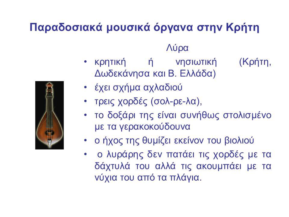 Παραδοσιακά μουσικά όργανα στην Κρήτη Λύρα κρητική ή νησιωτική (Κρήτη, Δωδεκάνησα και Β. Ελλάδα) έχει σχήμα αχλαδιού τρεις χορδές (σολ-ρε-λα), το δοξά