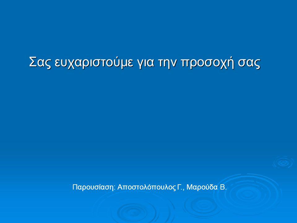 Σας ευχαριστούμε για την προσοχή σας Σας ευχαριστούμε για την προσοχή σας Παρουσίαση: Αποστολόπουλος Γ., Μαρούδα Β.