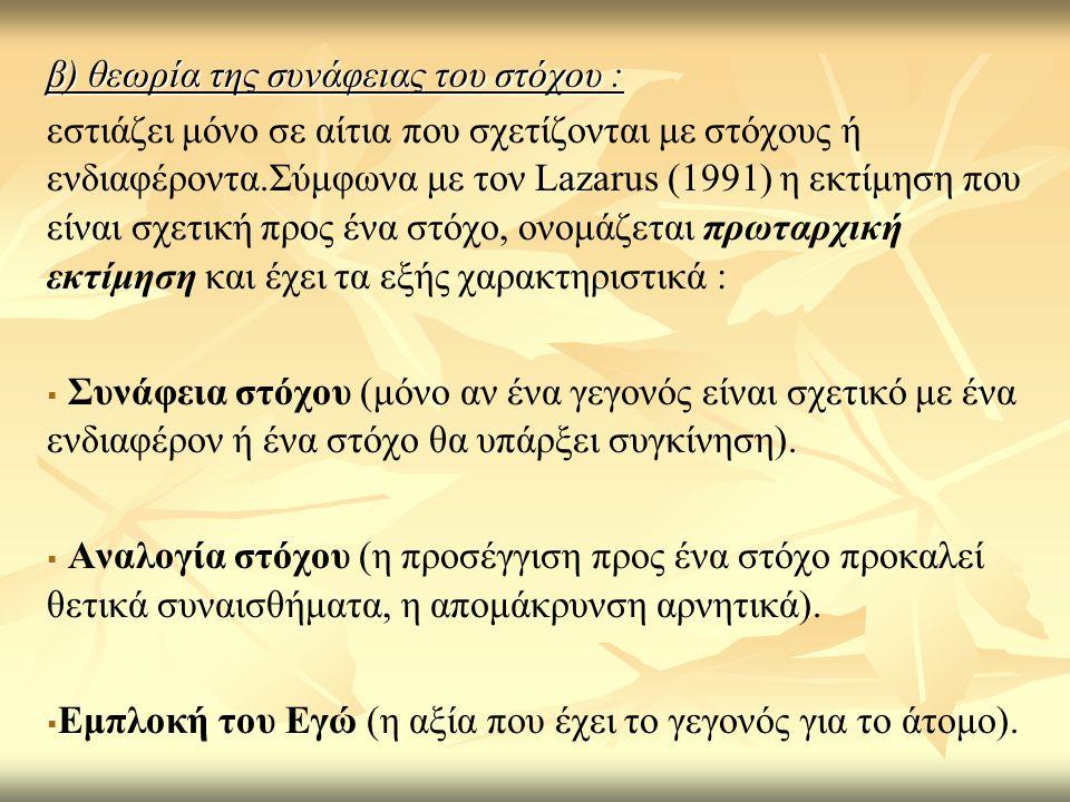 β) θεωρία της συνάφειας του στόχου : εστιάζει μόνο σε αίτια που σχετίζονται με στόχους ή ενδιαφέροντα.Σύμφωνα με τον Lazarus (1991) η εκτίμηση που είν