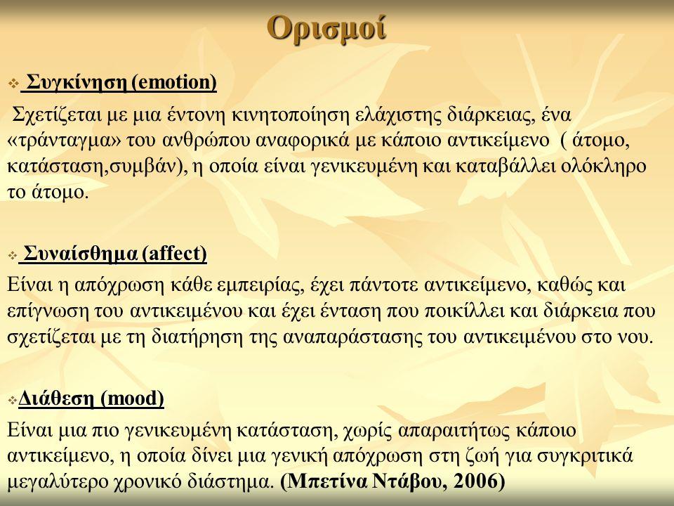 Ορισμοί   Συγκίνηση (emotion) Σχετίζεται με μια έντονη κινητοποίηση ελάχιστης διάρκειας, ένα «τράνταγμα» του ανθρώπου αναφορικά με κάποιο αντικείμενο ( άτομο, κατάσταση,συμβάν), η οποία είναι γενικευμένη και καταβάλλει ολόκληρο το άτομο.