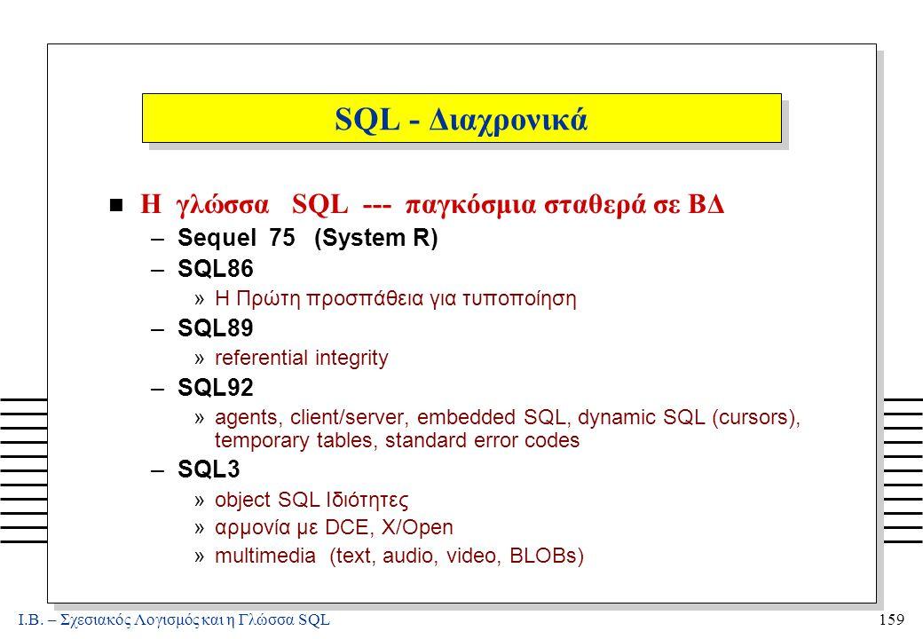 Ι.Β. – Σχεσιακός Λογισμός και η Γλώσσα SQL159 SQL - Διαχρονικά n Η γλώσσα SQL --- παγκόσμια σταθερά σε ΒΔ –Sequel 75 (System R) –SQL86 »H Πρώτη προσπά