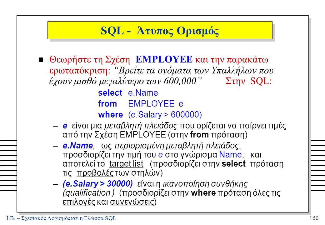 """Ι.Β. – Σχεσιακός Λογισμός και η Γλώσσα SQL160 SQL - Άτυπος Ορισμός n Θεωρήστε τη Σχέση EMPLOYEE και την παρακάτω ερωταπόκριση: """"Βρείτε τα ονόματα των"""