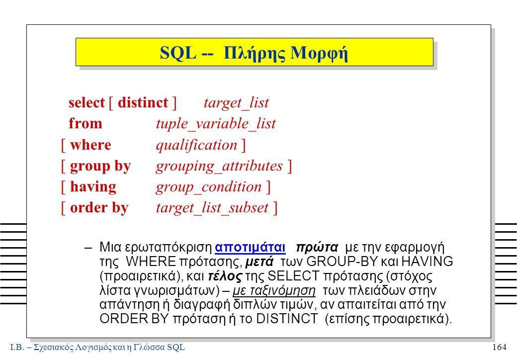Ι.Β. – Σχεσιακός Λογισμός και η Γλώσσα SQL164 SQL -- Πλήρης Μορφή select[ distinct ]target_list fromtuple_variable_list [ wherequalification ] [ group