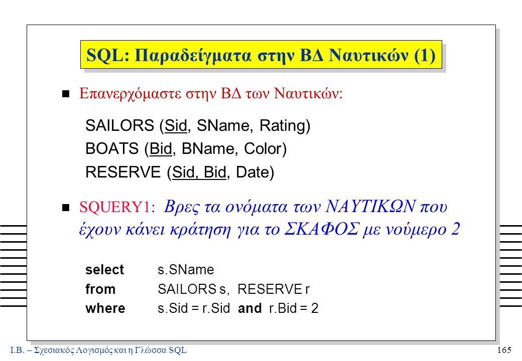 Ι.Β. – Σχεσιακός Λογισμός και η Γλώσσα SQL165 SQL: Παραδείγματα στην ΒΔ Ναυτικών (1) n Επανερχόμαστε στην ΒΔ των Ναυτικών: SAILORS (Sid, SName, Rating