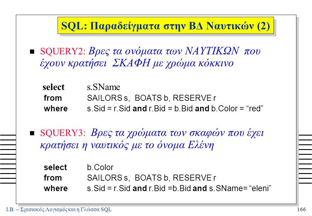Ι.Β. – Σχεσιακός Λογισμός και η Γλώσσα SQL166 SQL: Παραδείγματα στην ΒΔ Ναυτικών (2) n SQUERY2: Βρες τα ονόματα των ΝΑΥΤΙΚΩΝ που έχουν κρατήσει ΣΚΑΦΗ
