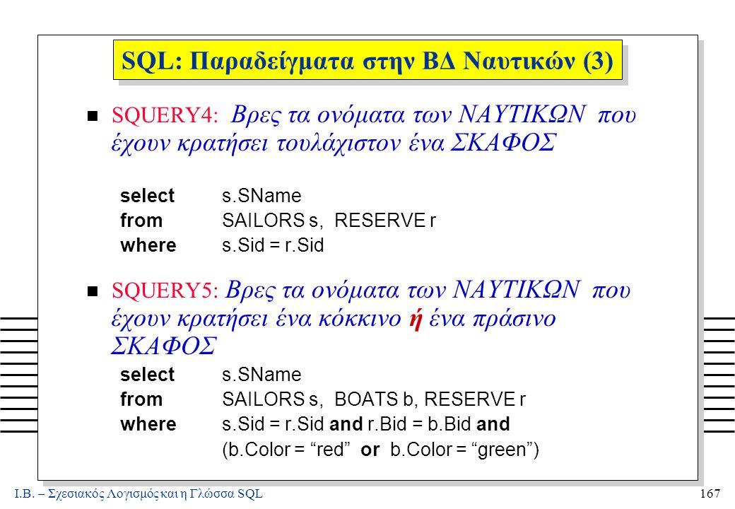 Ι.Β. – Σχεσιακός Λογισμός και η Γλώσσα SQL167 SQL: Παραδείγματα στην ΒΔ Ναυτικών (3) n SQUERY4: Βρες τα ονόματα των ΝΑΥΤΙΚΩΝ που έχουν κρατήσει τουλάχ