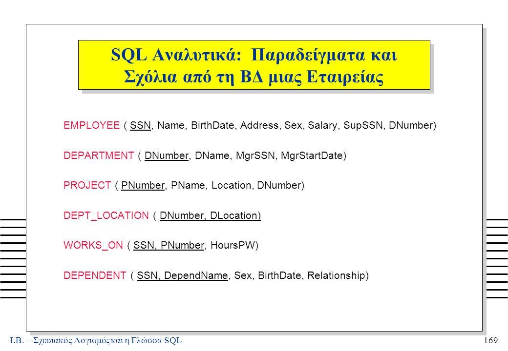 Ι.Β. – Σχεσιακός Λογισμός και η Γλώσσα SQL169 SQL Αναλυτικά: Παραδείγματα και Σχόλια από τη ΒΔ μιας Εταιρείας EMPLOYEE ( SSN, Name, BirthDate, Address