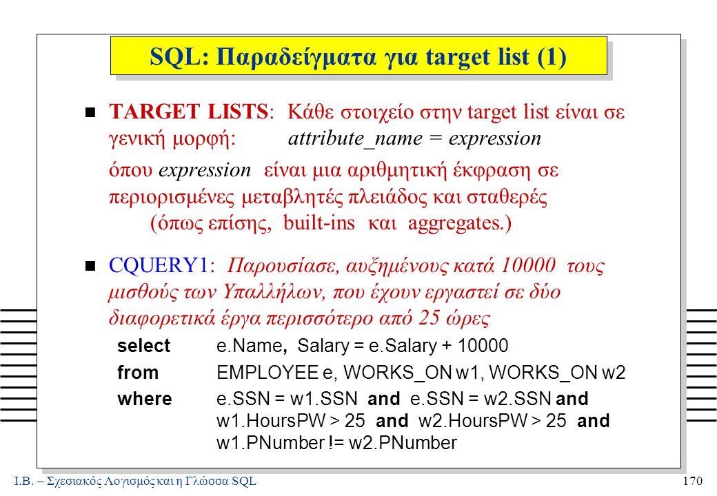 Ι.Β. – Σχεσιακός Λογισμός και η Γλώσσα SQL170 SQL: Παραδείγματα για target list (1) n TARGET LISTS: Κάθε στοιχείο στην target list είναι σε γενική μορ