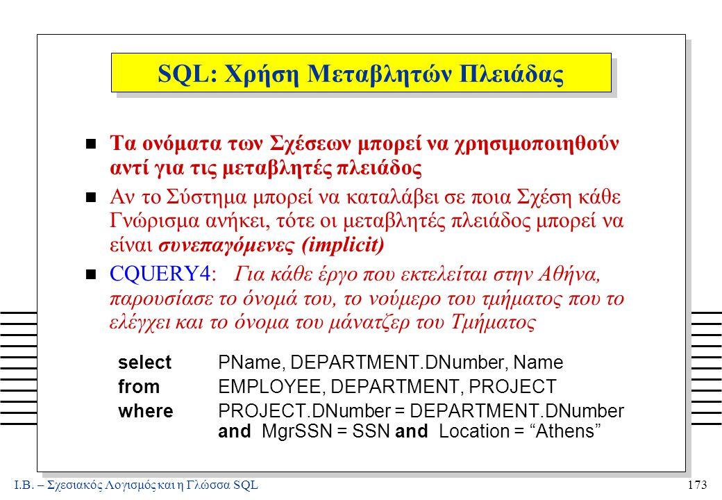 Ι.Β. – Σχεσιακός Λογισμός και η Γλώσσα SQL173 SQL: Χρήση Μεταβλητών Πλειάδας n Τα ονόματα των Σχέσεων μπορεί να χρησιμοποιηθούν αντί για τις μεταβλητέ