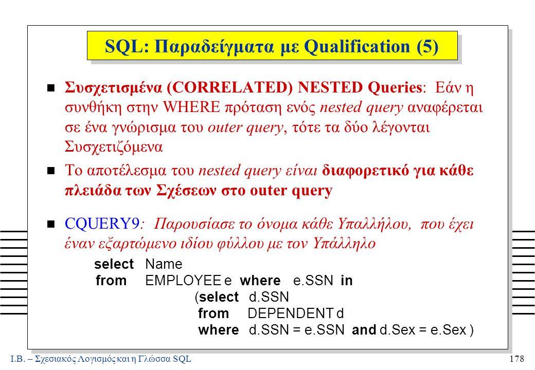 Ι.Β. – Σχεσιακός Λογισμός και η Γλώσσα SQL178 SQL: Παραδείγματα με Qualification (5) n Συσχετισμένα (CORRELATED) NESTED Queries: Εάν η συνθήκη στην WH