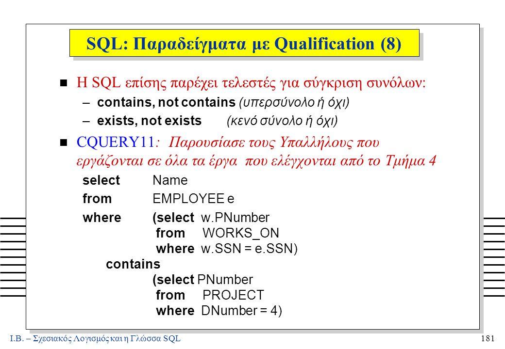 Ι.Β. – Σχεσιακός Λογισμός και η Γλώσσα SQL181 SQL: Παραδείγματα με Qualification (8) n Η SQL επίσης παρέχει τελεστές για σύγκριση συνόλων: –contains,