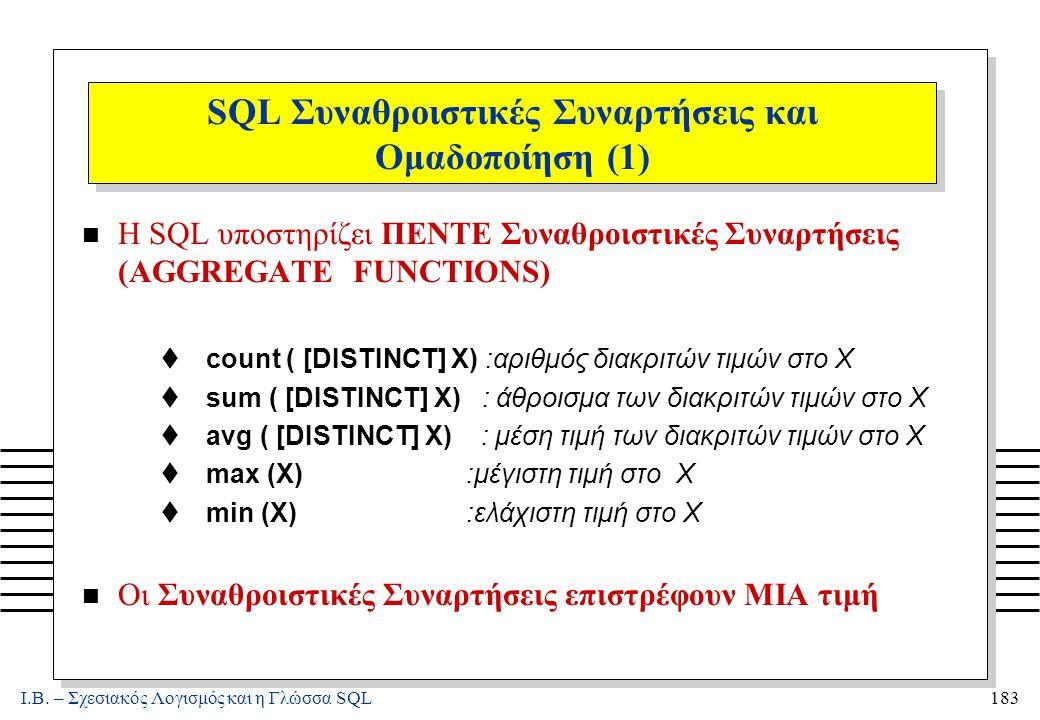 Ι.Β. – Σχεσιακός Λογισμός και η Γλώσσα SQL183 SQL Συναθροιστικές Συναρτήσεις και Ομαδοποίηση (1) n Η SQL υποστηρίζει ΠΕΝΤΕ Συναθροιστικές Συναρτήσεις